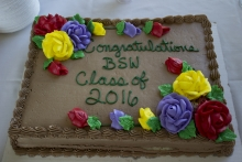 "Slab cake with ""Congratulations Class of 2016"" on it"