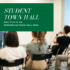 Student Town Hall, November 17 at 12pm. Students pictured sitting in a classroom.