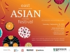 East Asian Festival poster - red and orange background with stylistic Chinese umbrellas