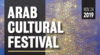 Event title, Arab cultural festival, over a purple and gold painting.
