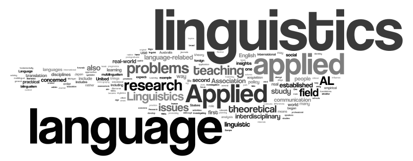 word cloud for applied linguistics research