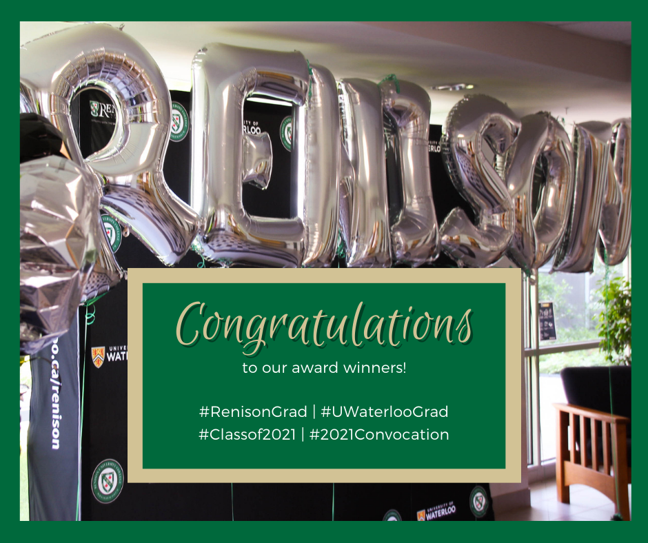 Image of silver balloons spelling out Renison. Includes the text: Congratulations to our award winners!
