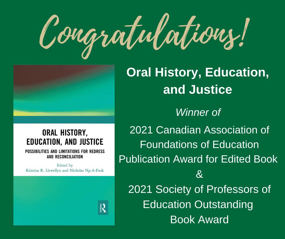 Congratulations! Oral history, education, and justice wins two publication awards.