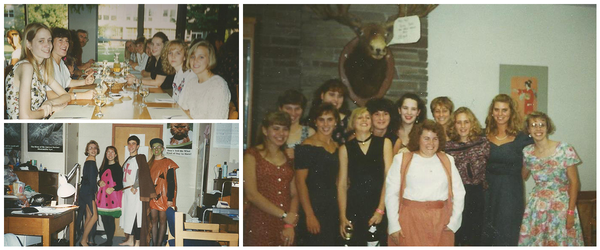 College dinner with 8 people at a long table, an image of four people in Halloween costumes, and a group photo in the Moose Room