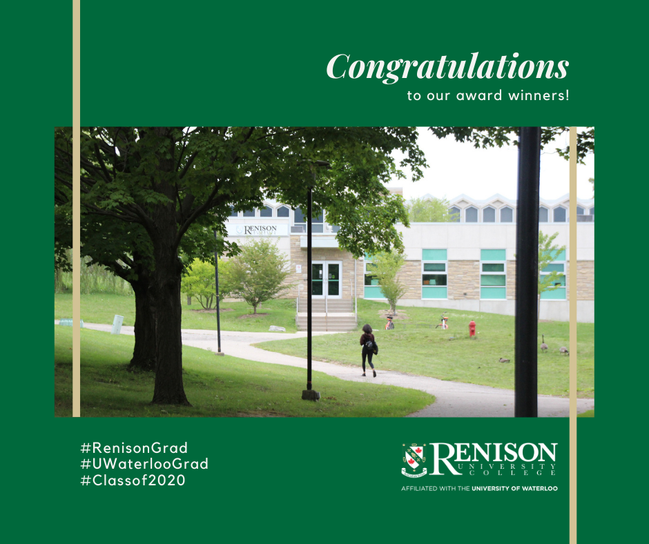 Congratulations to our award winners! Photo of student walking up the path toward the Renison entrance.