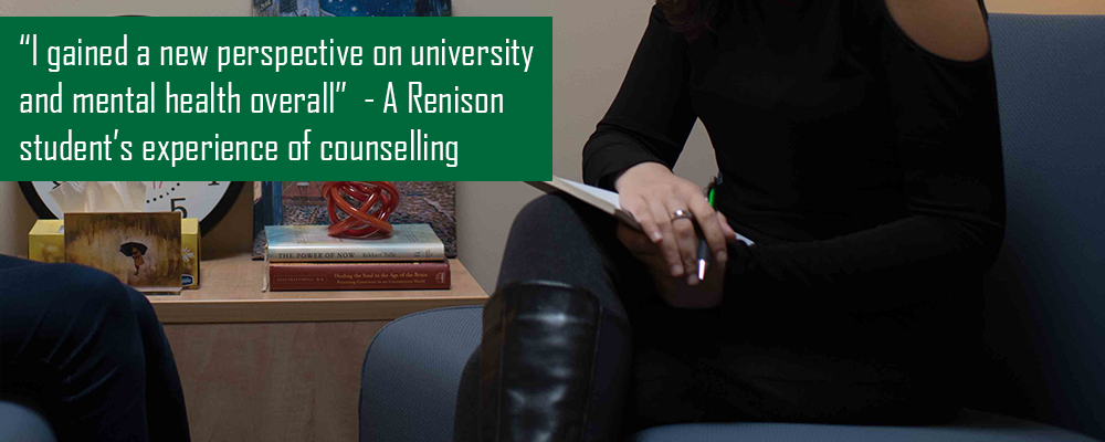 A Renison Student's Experience of Counselling. Image shows two people sitting across from one another.