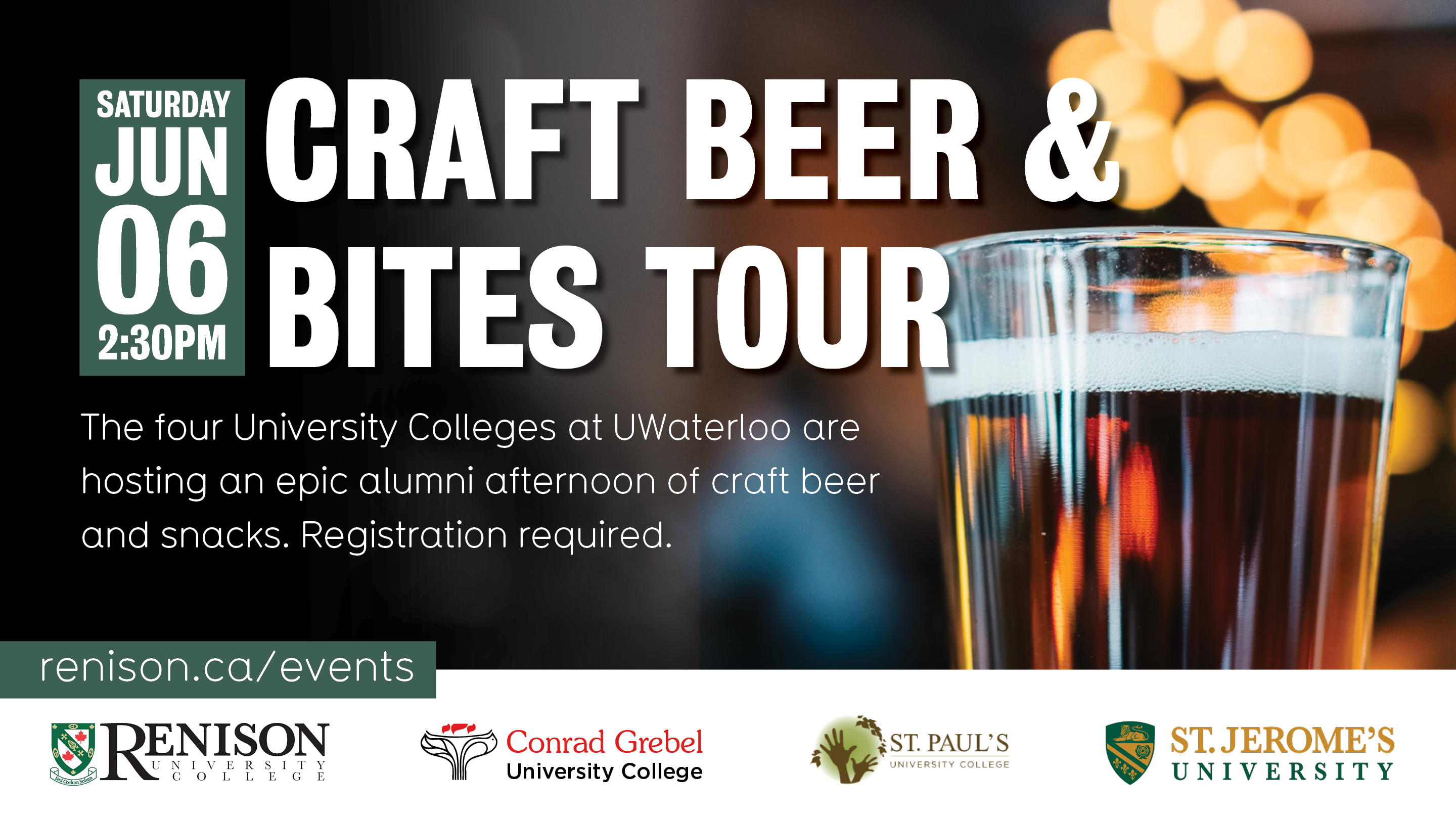Poster with beer glass. Craft beer and bites tour. The four university colleges at Waterloo are hosting a beer and bites event.