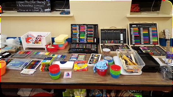 Craft supplies set up in the Dunker Family Lounge