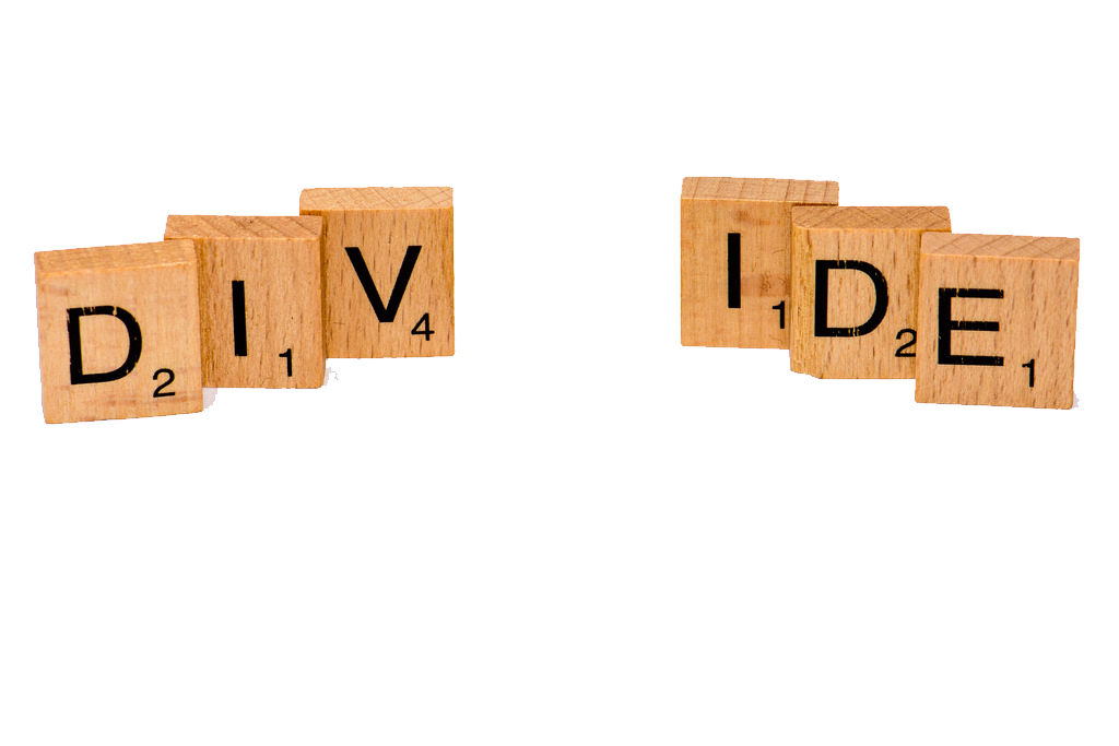 divide in scrabble letters illustrating the divide between second language writing and translingualism