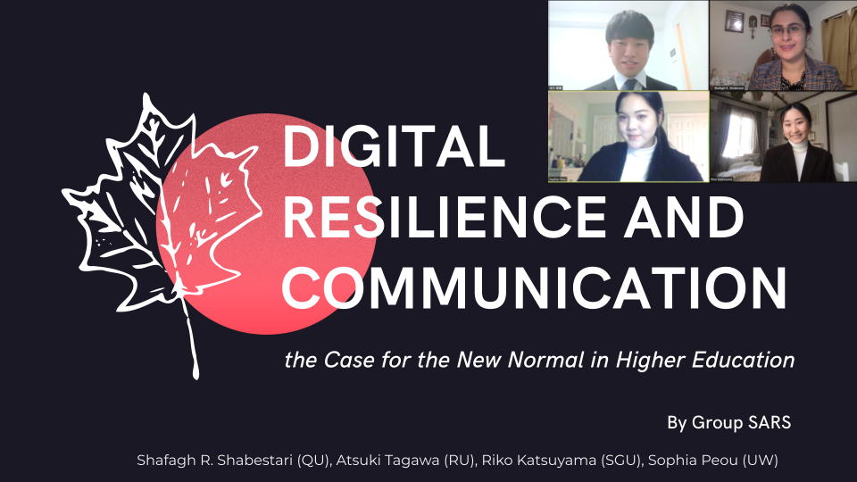Opening slide of winning presentation. Title reads, Digital Resilience and Communication. Includes small photos of group members