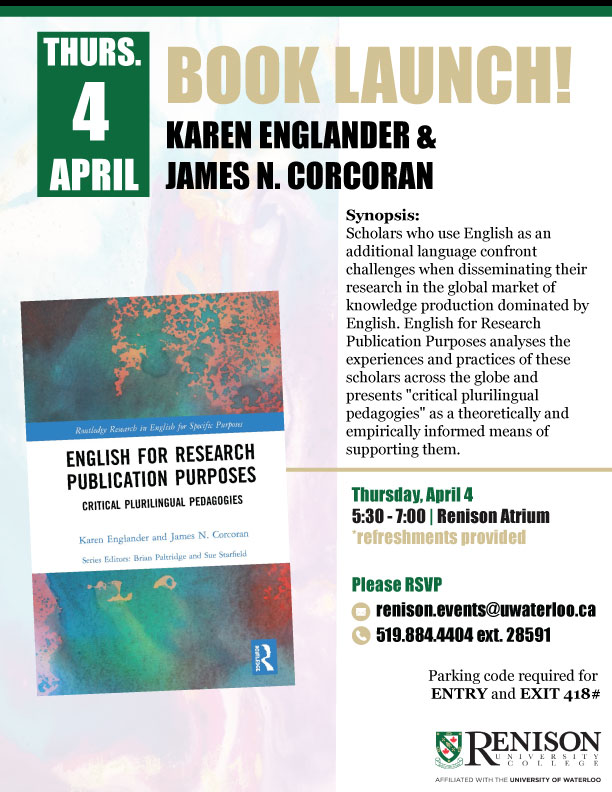 Poster - April 4 book launch, Karen Englander and James N. Corcoran