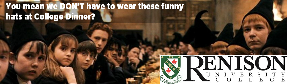 You mean we don't have to wear these funny hats to College dinner?  Harry Potter meme