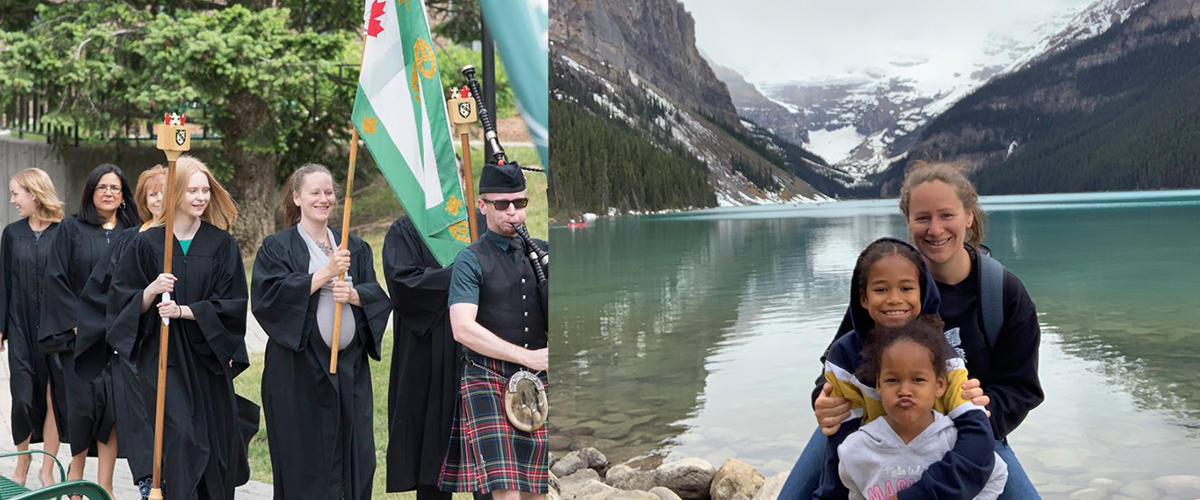 Jaydum Hunt walking with the Renison flag and convocation. Second photo is of Jaydum with her children in the mountains.