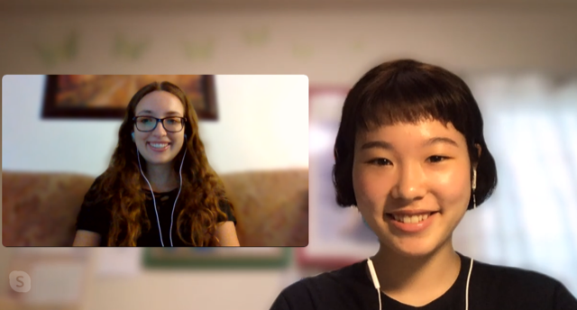 Two women talking over video chat.
