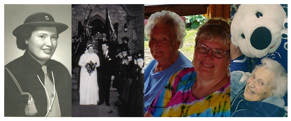 Joy Prittie as a young woman, on her wedding day, with her daughter as an older woman, and with a bear mascot.