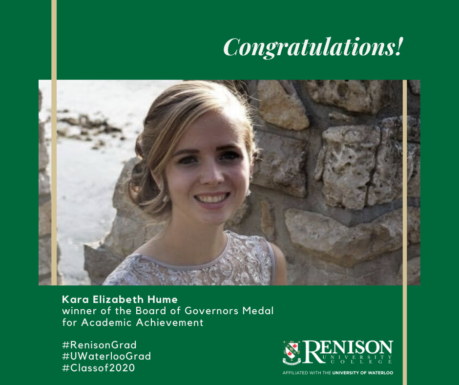 Kara Elizabeth Hume, winner of the Board of Governors Medal for Academic Achievement