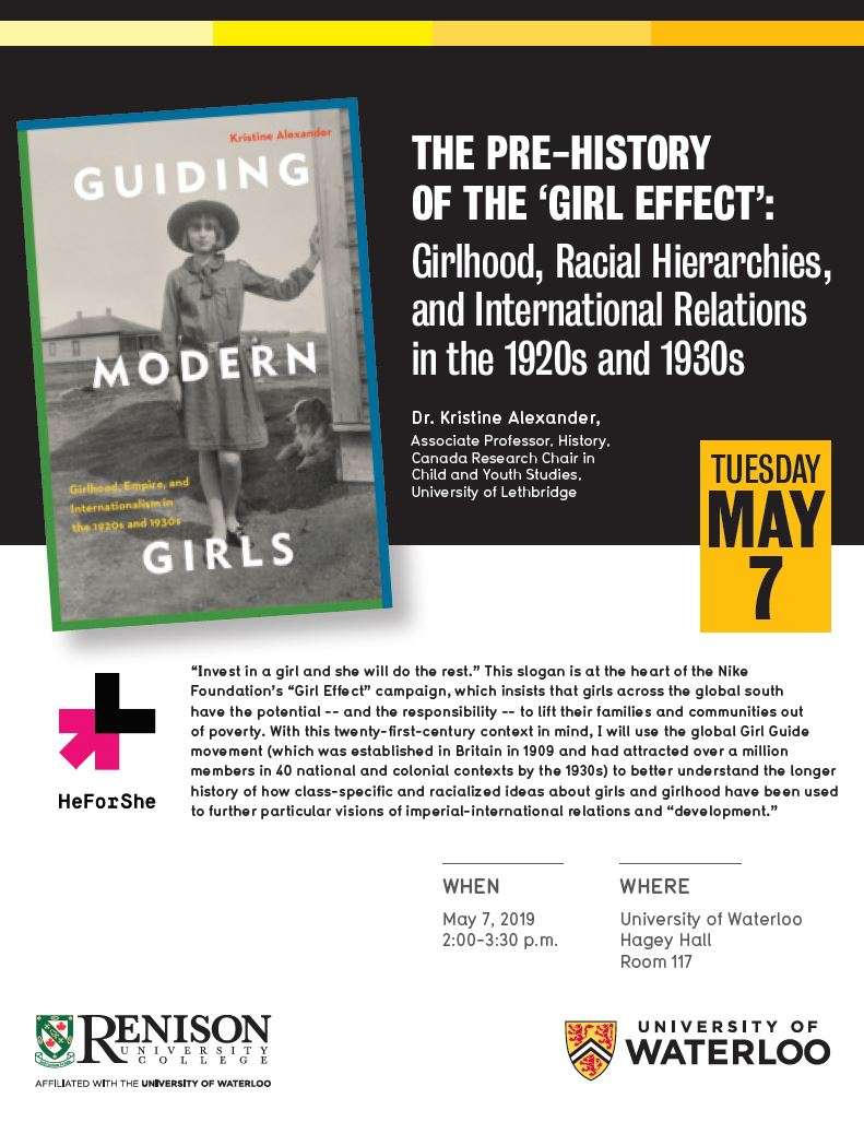 Lecture poster with image of book 'Guiding Modern Girls' by Kristine Alexander