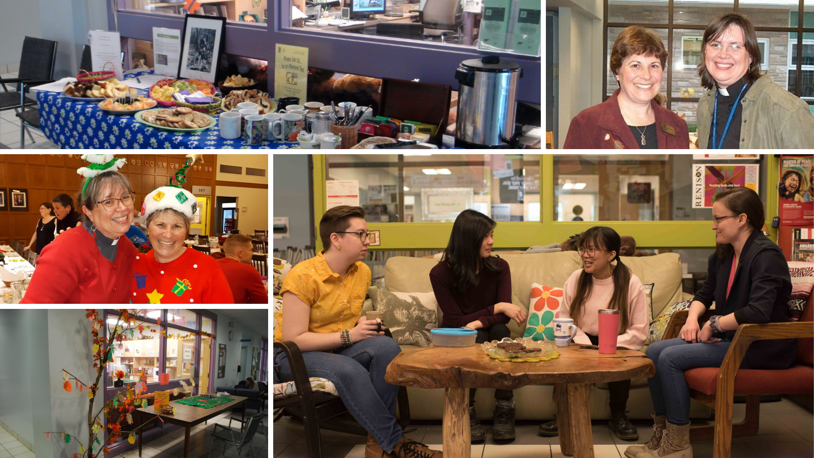 Collage of photos from the Ministry Centre. Shows the couches and chairs, some students talking, and cookies and coffee!