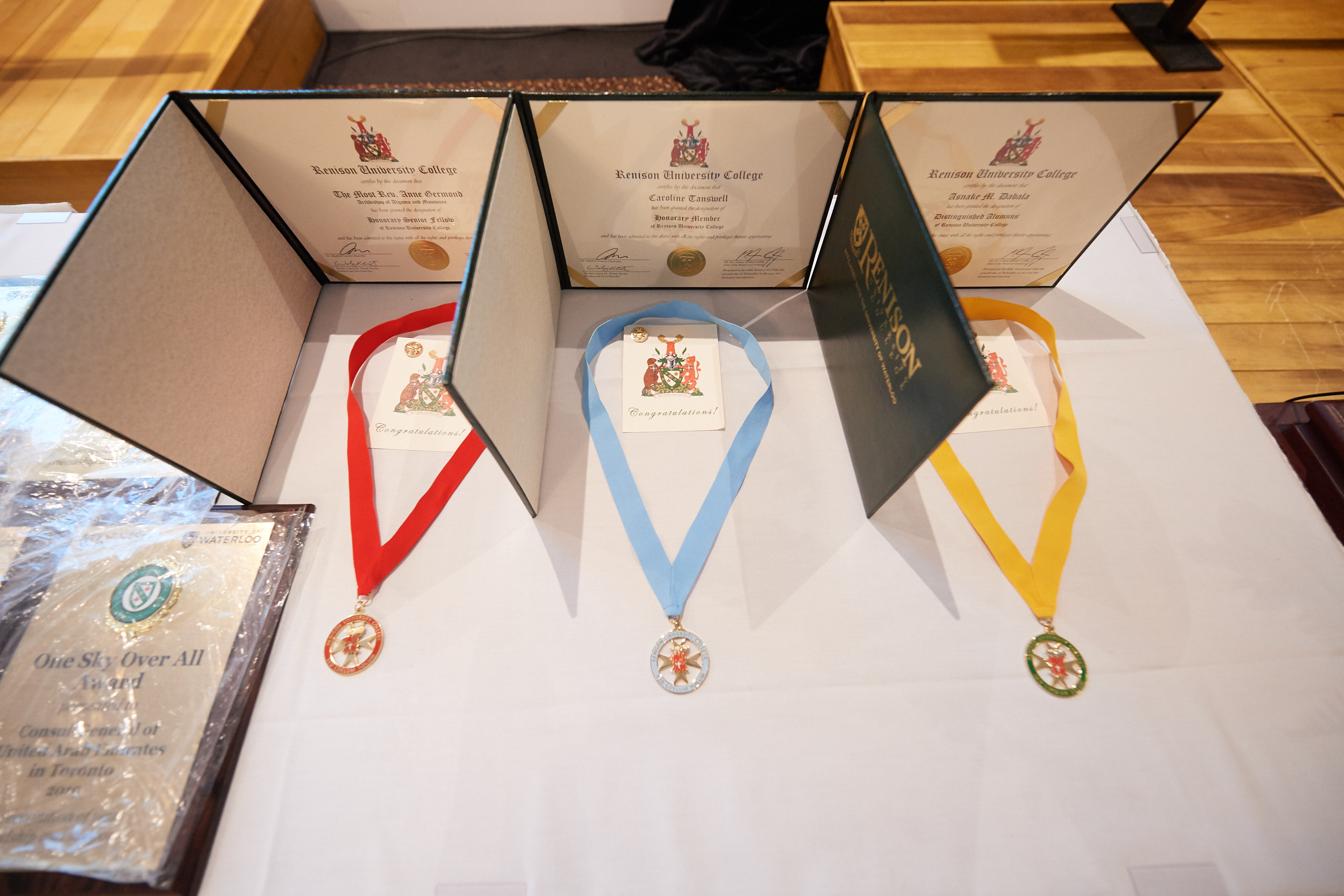 Awards presented on a table