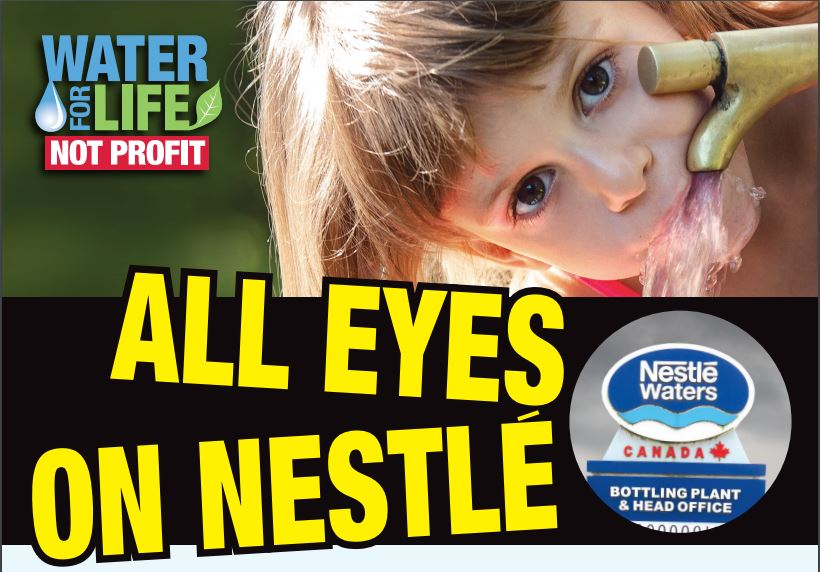 All eyes on nestle image with young girl drinking water from a tap.