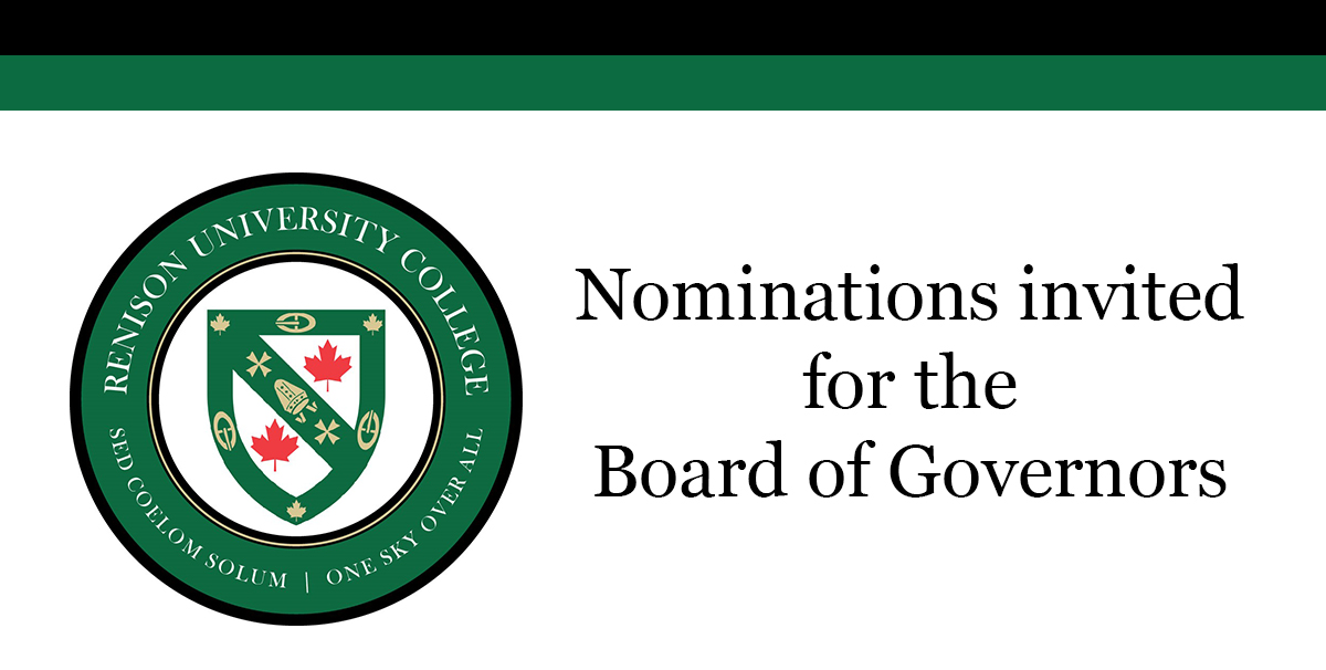 Renison crest. Text reads: nominations invited for the board of governors.