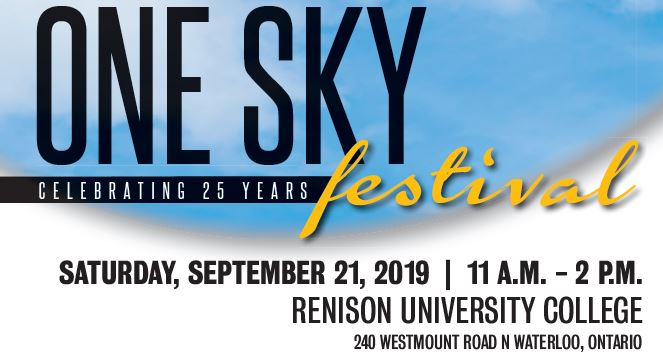 Image of blue sky in background. Text reads: One sky festival, saturday, September 21, 11am-2pm, Renison University College, 240