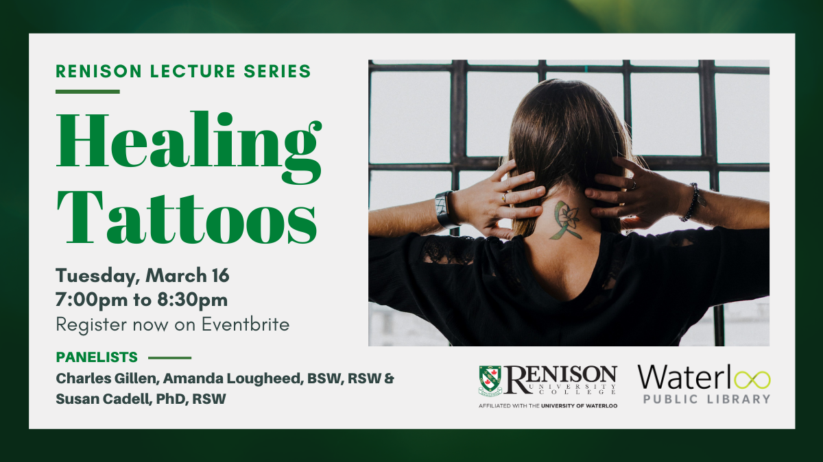 Healing tattoos, March 16 at 7:00pm. Image of a person with a ribbon tattoo on the back of their neck.