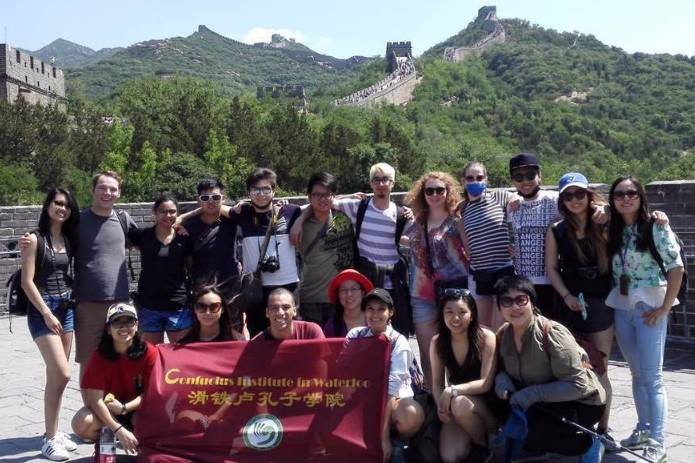 Renison students on exchange in China at the Great Wall