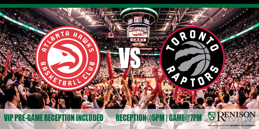 Atlanta Hawks logo and the Toronto Raptors logo in front of the Air Canada Centre crowd (VIP Pre-game reception included)