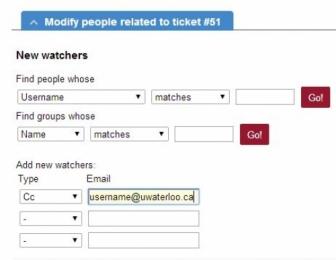 RT4 adding a watcher to a ticket