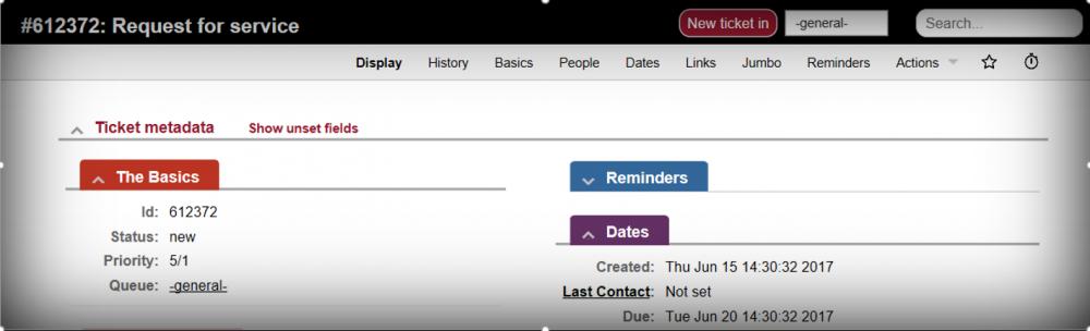 Request Tracker (RT) ticket screenshot