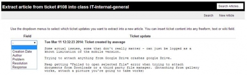 Map ticket components to article fields