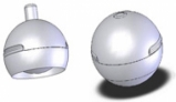 Two images of VeBall - a) 2D mode with truncated sphere and b) 3D mode with full sphere
