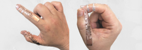 Tip-Tap technology attached to a person's hand