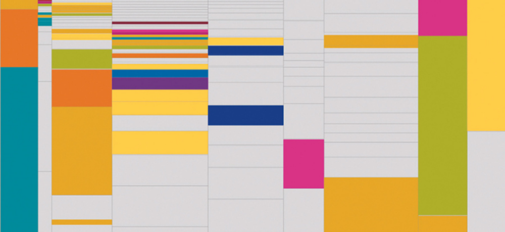 Picture of a schedule bar, with coloured boxes.