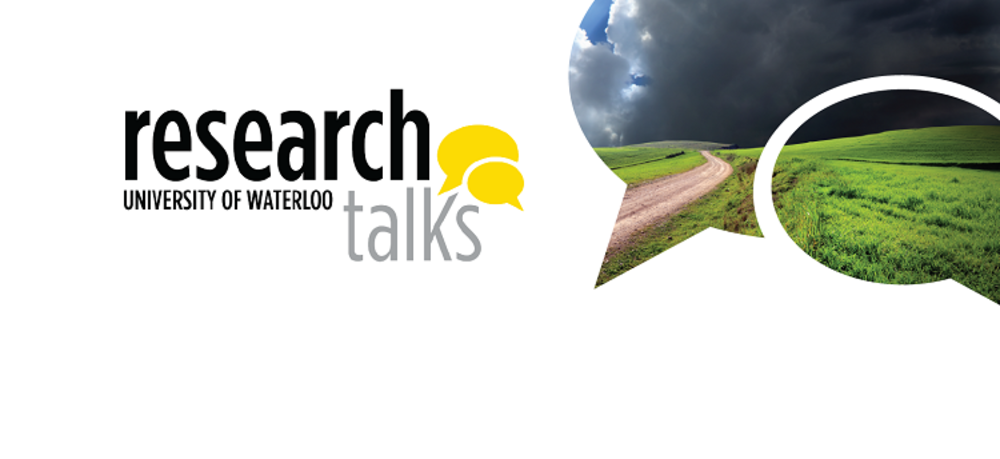 Cloudy horizon with pathway leading through green landscape with Research Talks logo