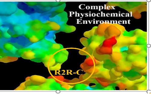 Complex physiochemical environment depicted with blue, green, red, and yellow graphics