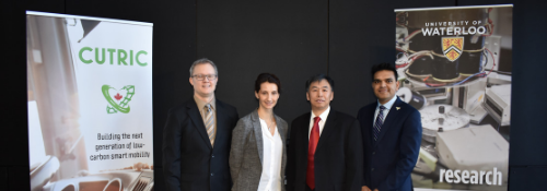 Professor Li photographed with CUTRIC, Ballard Power Systems, and Sanjeev Gill, AVP, Innovation