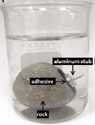 Bonding aluminum stub to a rock with bonding hydrogels in water