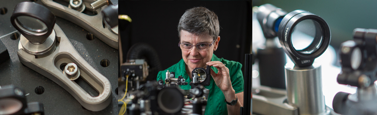 Melanie Campbell conducting research in her lab using micro-mirrors, one of the optical imaging innovations created at Waterloo.