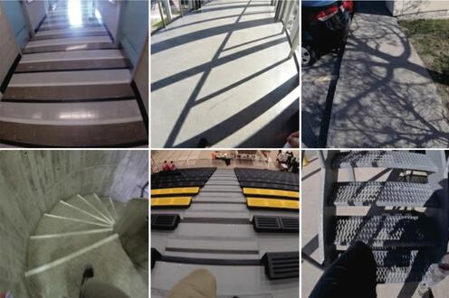 Ten different challenging camera views of shadows, patterns, and stairs