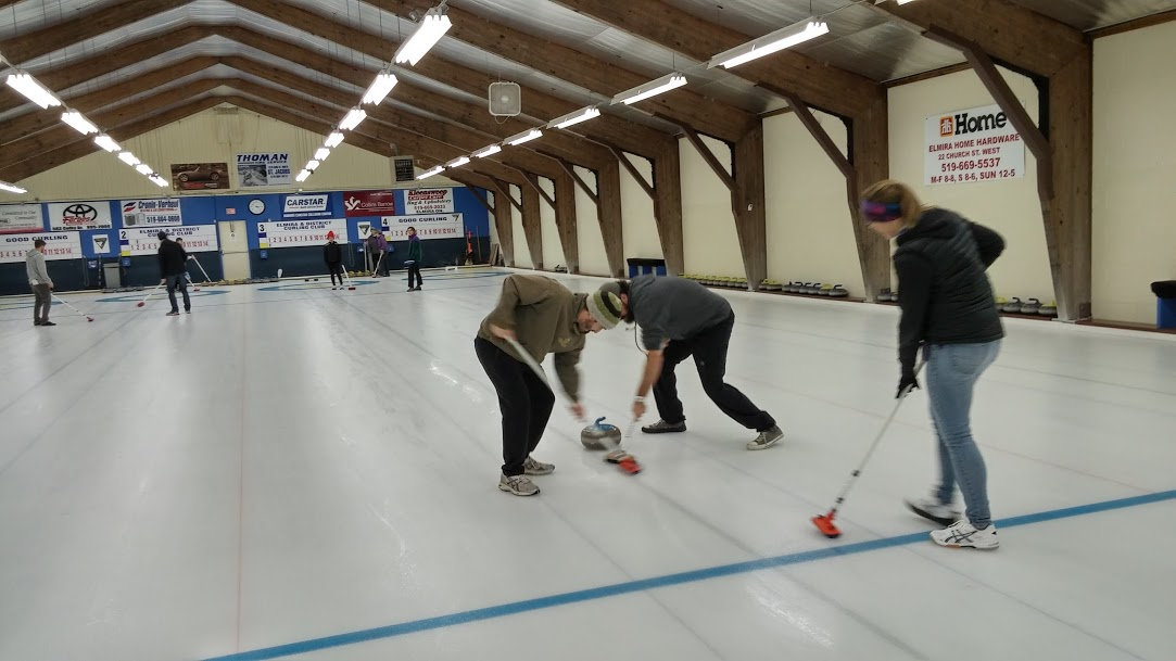 Rooney Lab members curling