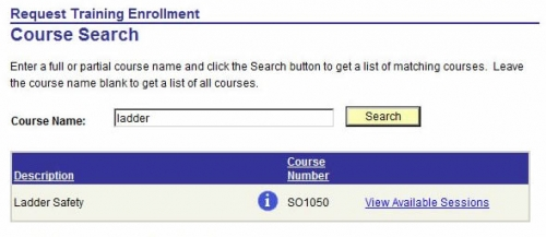 list of courses searched