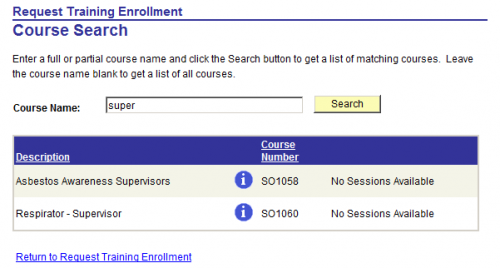 course search page to request course enrolment