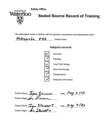 Sealed source record of training