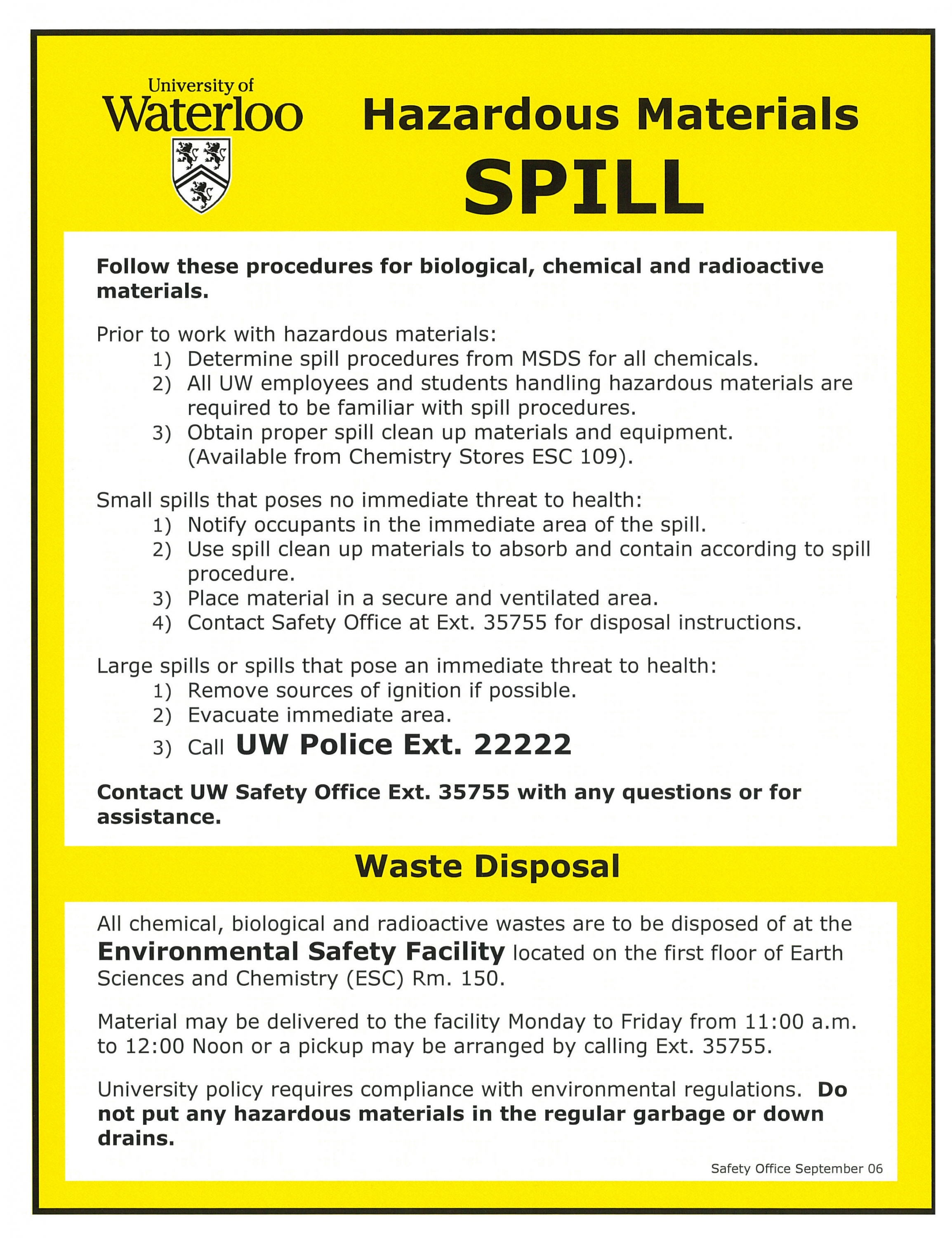 posting requirements safety office hazardous materials spills waste disposal