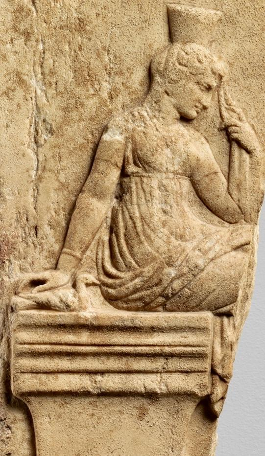Peithō, goddess of persuasion, depicted in a marble neo-Attic Roman relief.