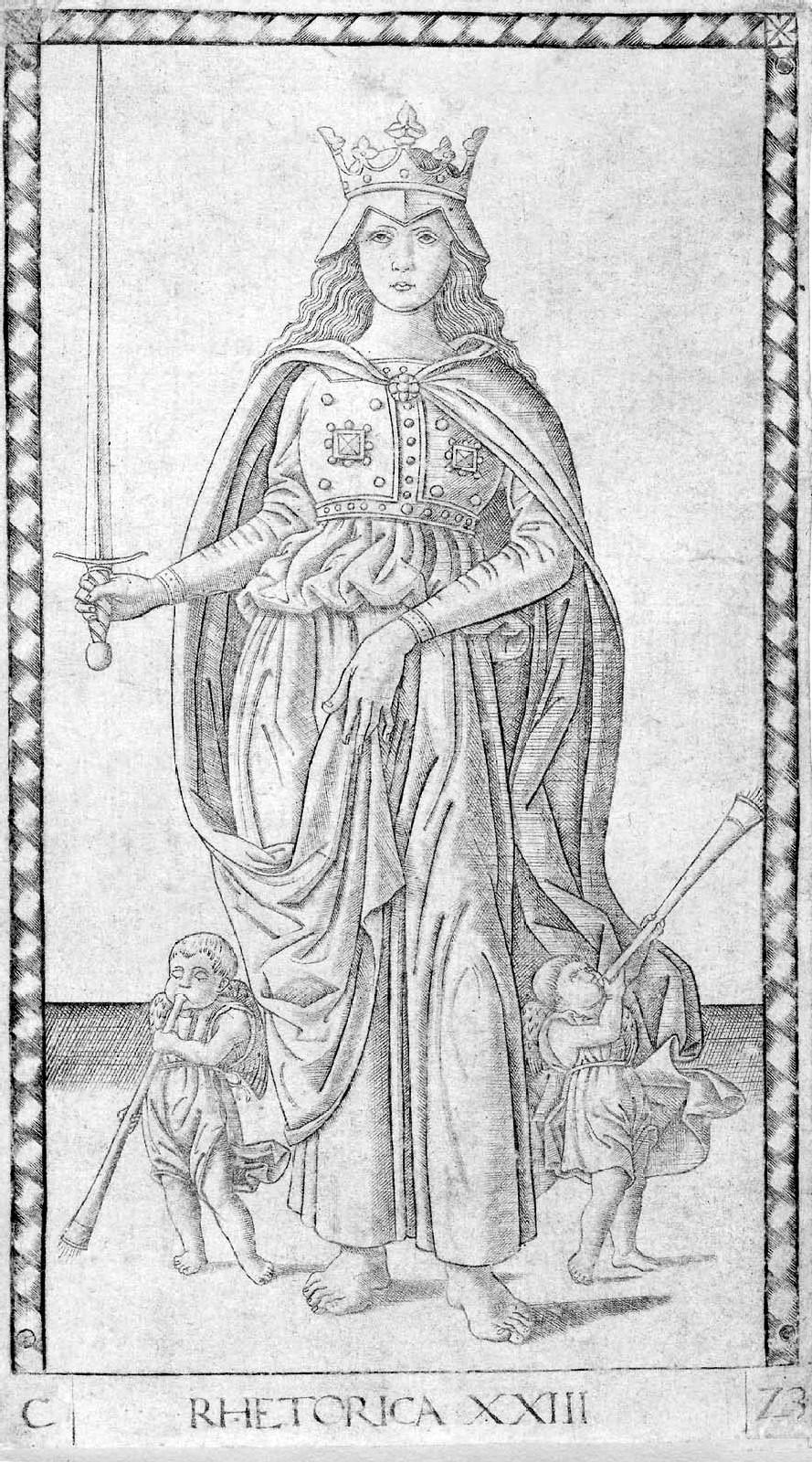"Picture of Rhetorica, the personification of rhetoric, as a ""martial and regal"" figure (quoting Michele Kennerly and Carly S. Woods in ""Moving Rhetoric,"" in Rhetoric Society Quarterly, 2017). Picture citation: Mantegna Tarocchi, no. 23; from Wikimedia."
