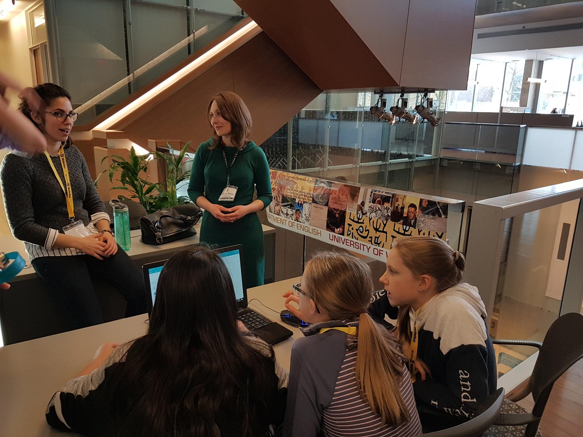 NE team at a Girls in STEAM event at the University of Waterloo
