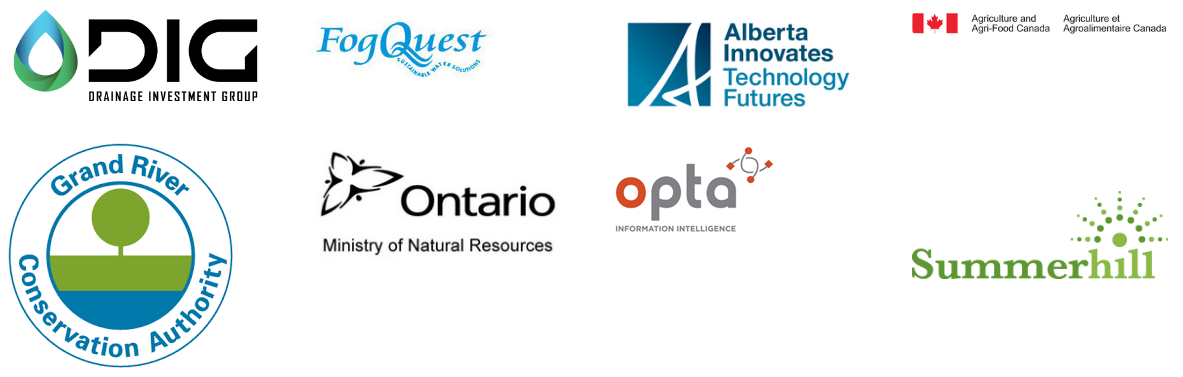 Drainage Investment Group, Fog Quest, Alberta Innovates Technology Futures, Agriculture and Agri-Food Canada, GRCA, OMNR, Opta Information Intelligence, and Summerhill logos